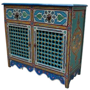 Arabischer Schrank ZWAK Blau handbemalt