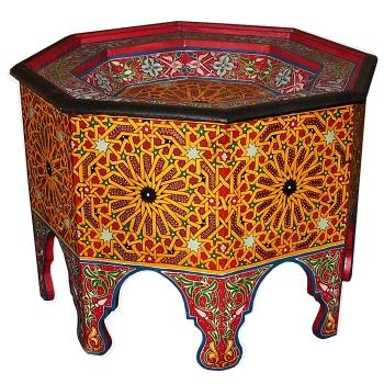 Marokko Tisch aus Holz, Handbemalt  Mtemmen D63cm
