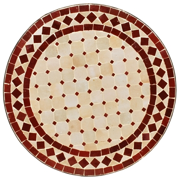 Mosaiktisch D60cm -Beige/Bordeaux-
