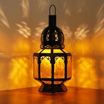 Marokkanische Glaslaterne SAMARA Amber Gelb H30cm