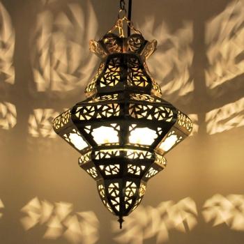 Orientalische Hängeleuchte TRIMBO - MILCHGLAS aus Messing