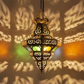 Orientalische Hängeleuchte marokkanische arabische Hängelampe TOMBIA-MULTIFARBIG aus Messing