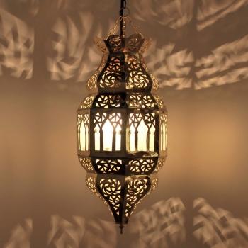 Orientalische Hängeleuchte Trombia_Milchglas_2  aus Messing