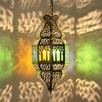 Orientalische Hängeleuchte TROMBIA Multifarbig 2  aus Messing