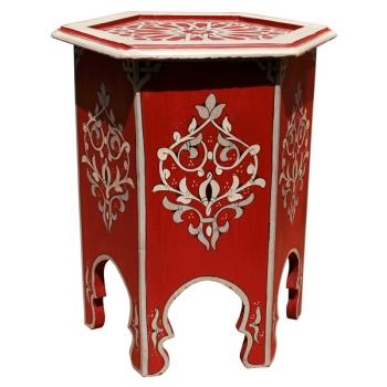 Orientalischer Teetisch aus Holz, Rouge Handbemalen.
