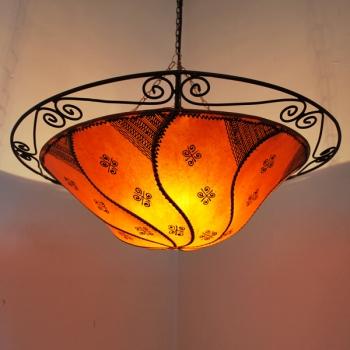 Hängeleuchte aus Leder SALMANIA Orange