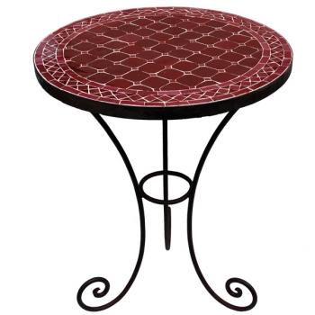 Mosaiktisch D60cm -Rund-Bordeaux/Rosa
