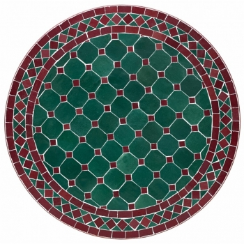 Mosaiktisch D60cm Bordeaux/Grün